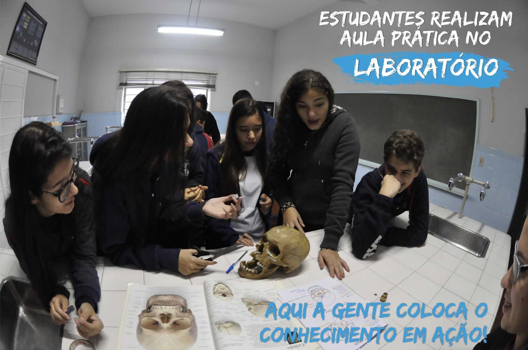 Alunos do Ensino Médio realizam semanalmente aulas práticas no Laboratório de Ciências
