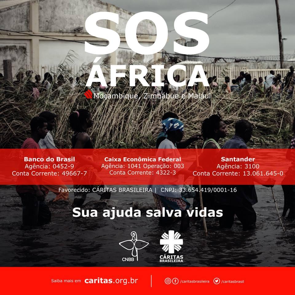 Campanha de ajuda aos países africanos que estão sofrendo com a passagem do Ciclone Idai