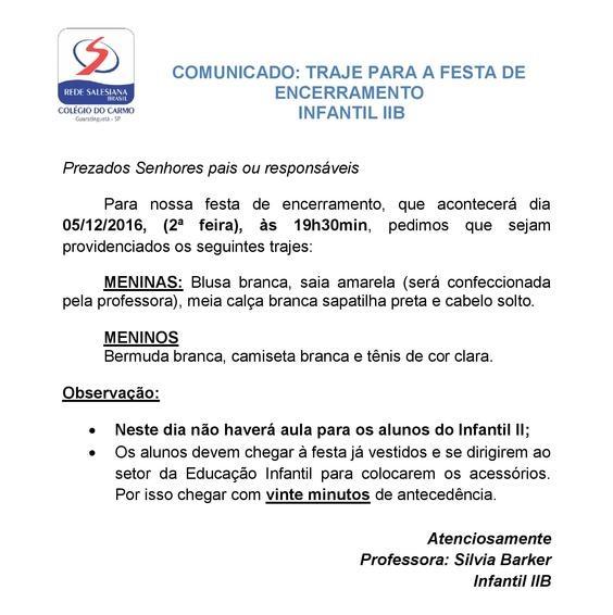 INF II B - TRAJES PARA FESTA DE ENCERRAMENTO